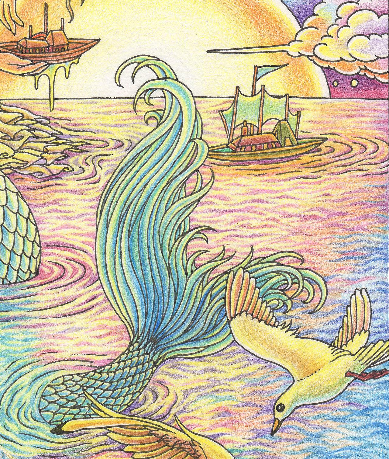 3针管笔   辉柏嘉48色水溶彩色铅笔    用时:12小时 《美人鱼》这幅