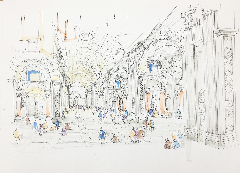 意大利圣彼得大教堂手绘|空间|室内设计|室内手绘营图片