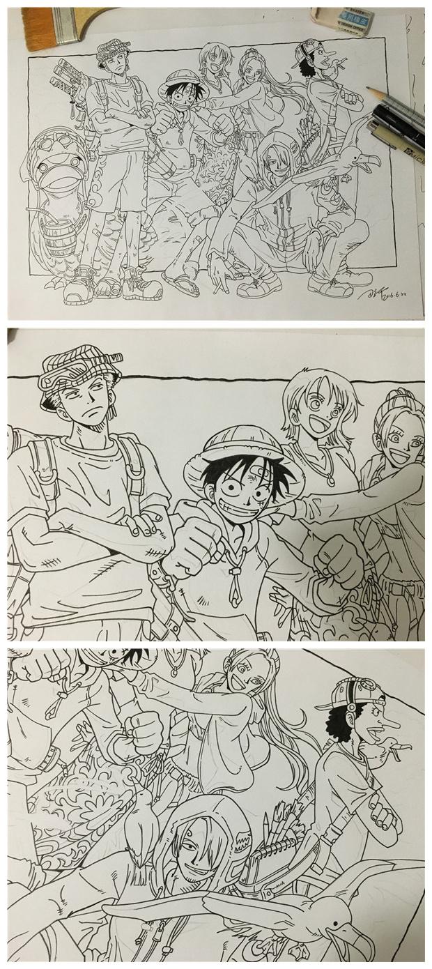 马克笔手绘海贼王