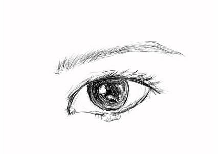 手绘快流泪的眼睛