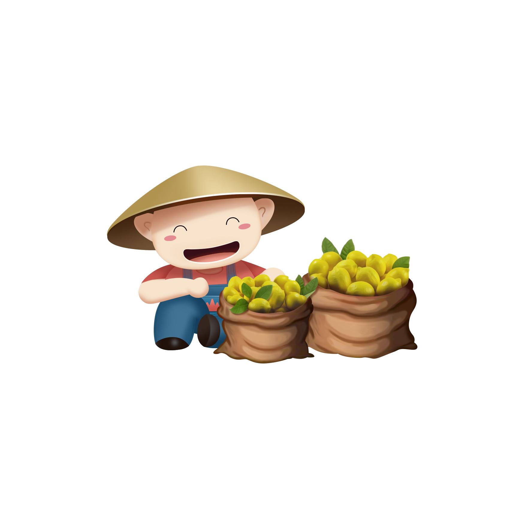 农夫形象_为山野农夫天猫旗舰店设计的卡通形象,农夫侠,呆檬妹