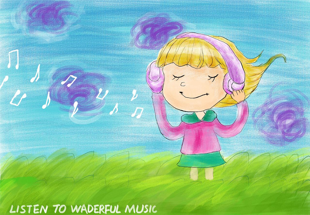 听音乐的女孩图片