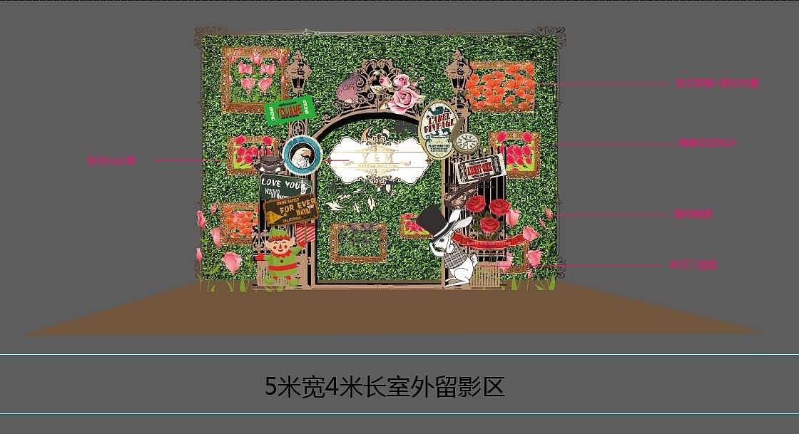 绿野仙踪留影墙平面效果图图片