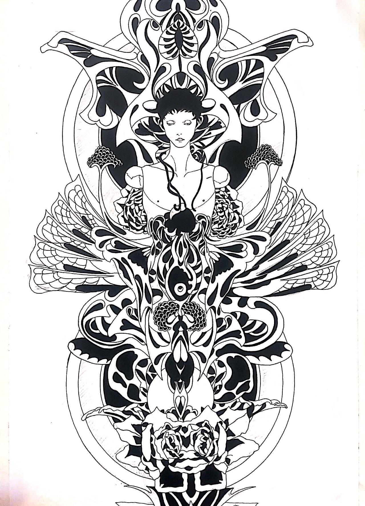 黑白画|插画|插画习作|shireen琳儿 - 原创作品图片