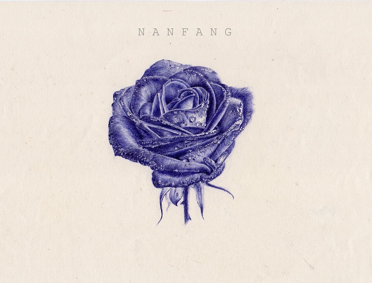 圆珠笔画一杯水,蓝玫瑰