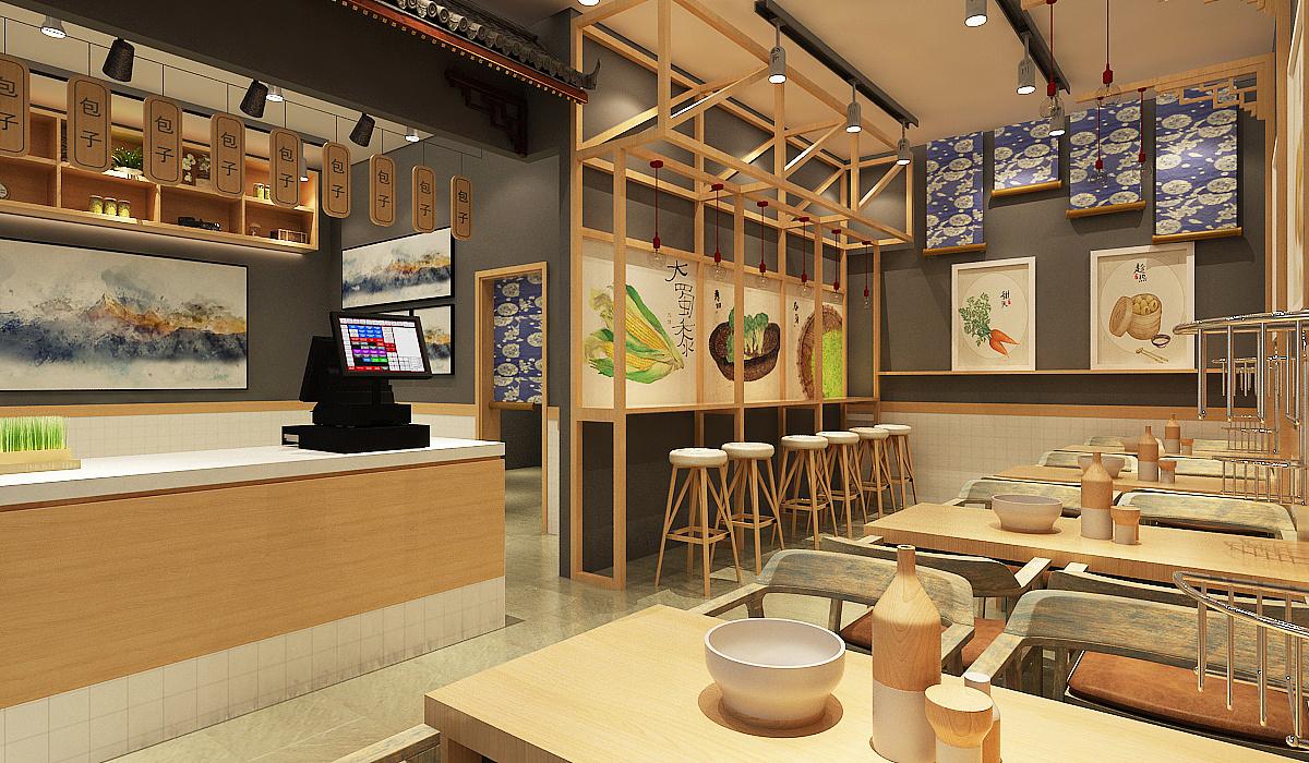 包子店面效果图 包子店面设计 新中式包子店面