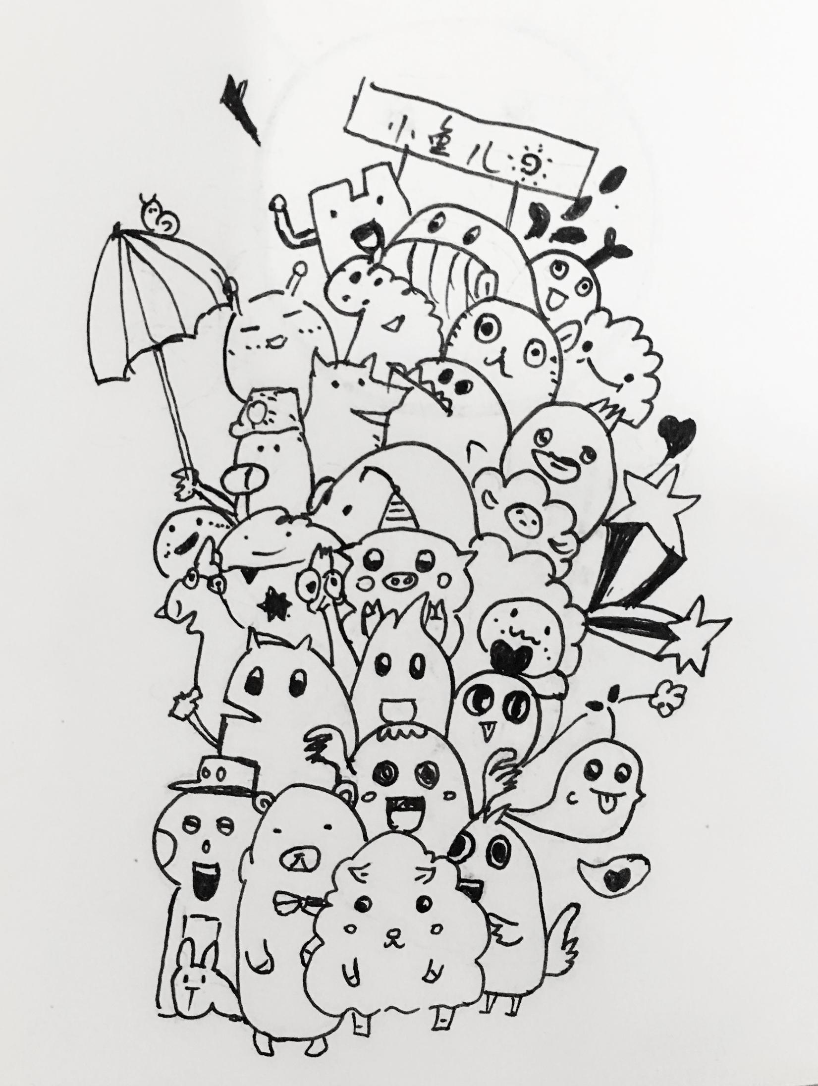 黑白插画手绘练习