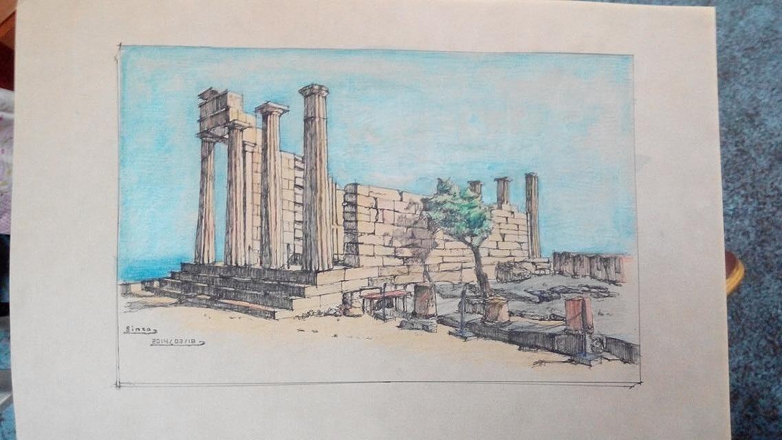 建筑风景手绘