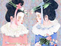 《双生姐妹花》系列三(手绘艺术)可定制约稿