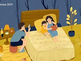 三口之家温馨的感觉插画