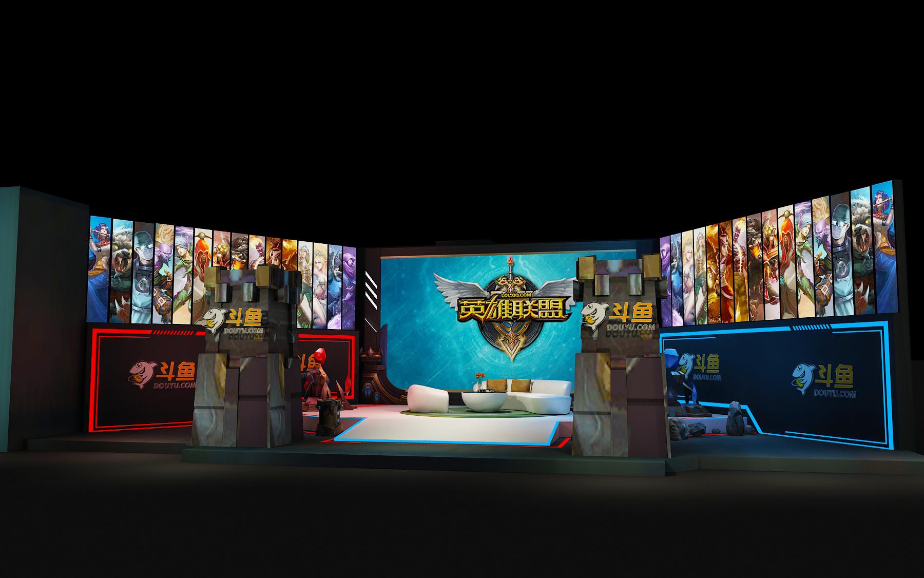 斗鱼 英雄联盟 转播间 直播间 线下活动 3d效果图图片