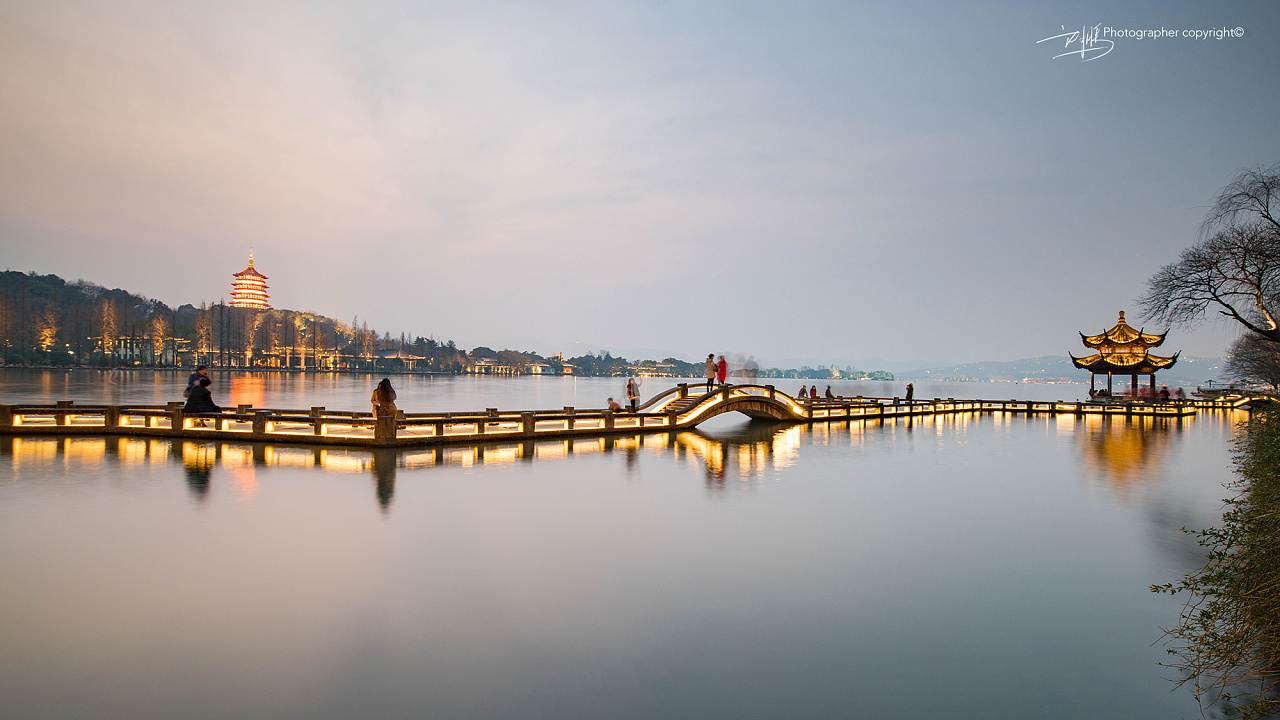 西湖_杭州西湖 长桥 雷峰塔 翠光亭 市民中心 风光摄影 |摄影|风光|JIA ...