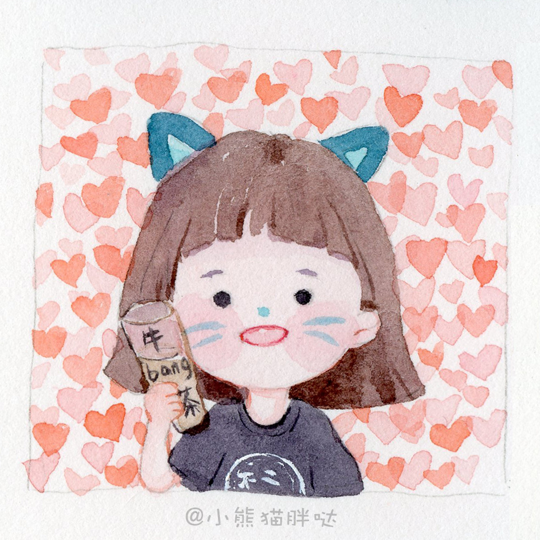 【小熊猫胖哒】手绘卡通头像小头像水彩插画水彩人物