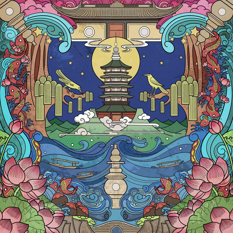西湖十景主题方巾设计图案图片