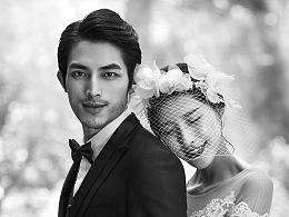 婚纱黑白照片