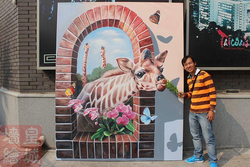 北京皇城手绘艺术部分墙面3d立体画作品,北京3d立体画