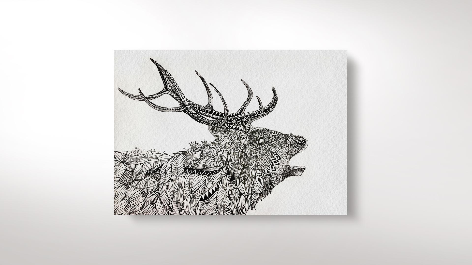 手绘麋鹿壁纸高清图片