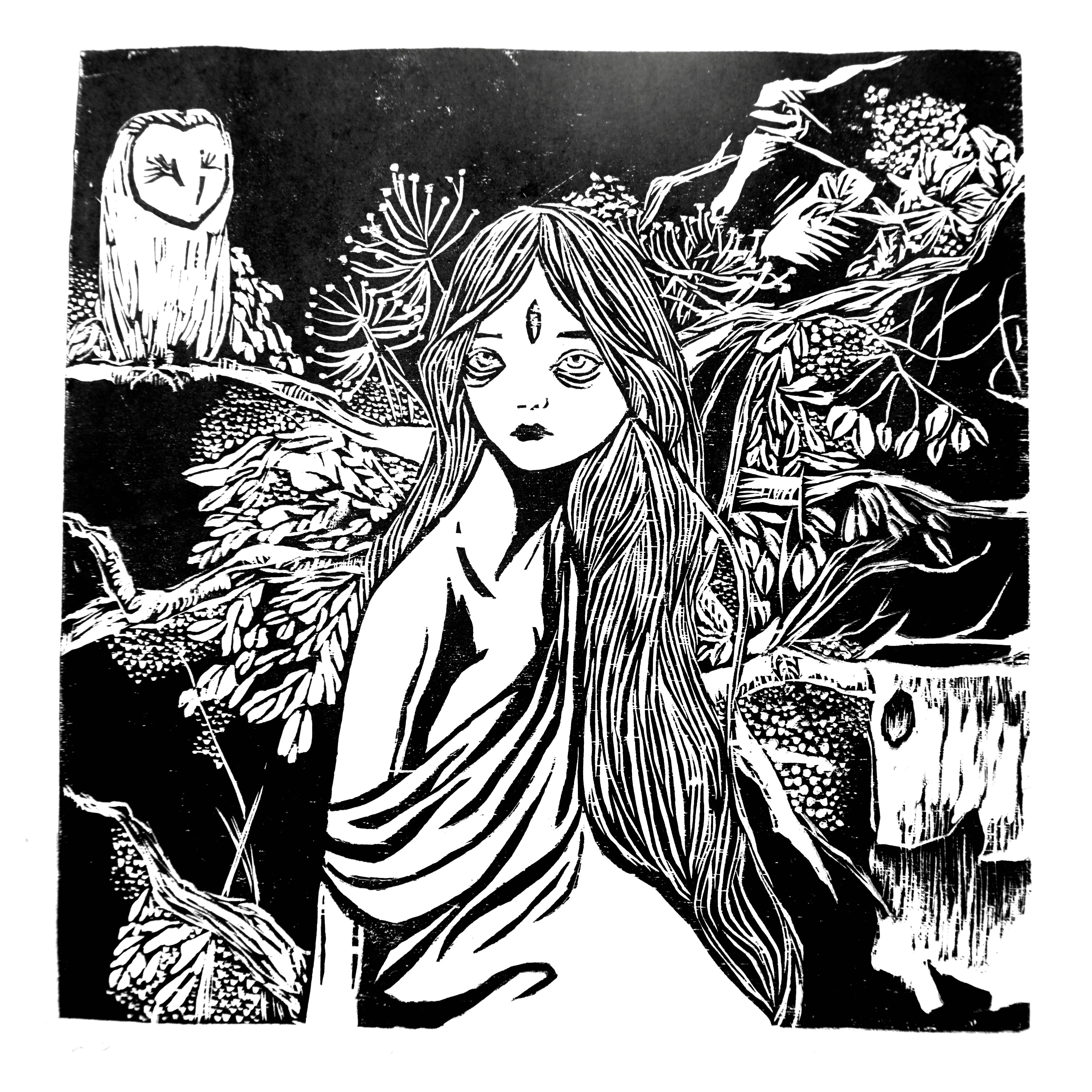 树精系列 黑白木刻版画