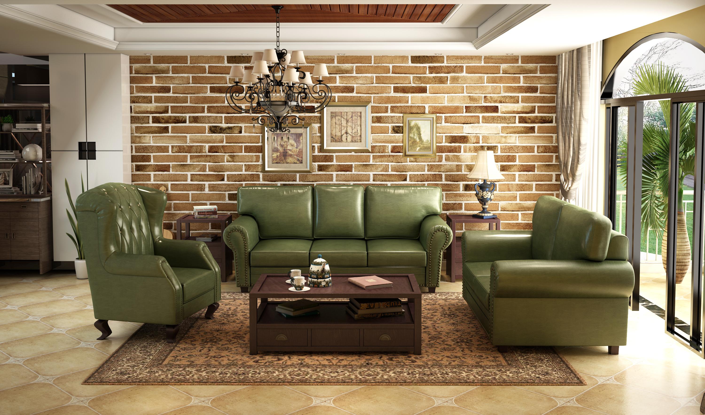 美式乡村真皮沙发 沙发3d制作图片