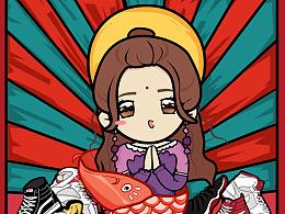 【原价帝】球鞋锦鲤插画海报