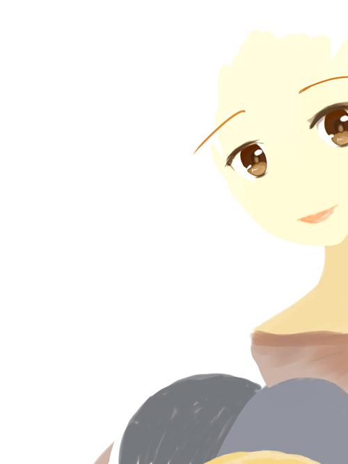 自画像插画 简单的电脑手绘过程图 二元素女孩(手绘q版漫画_by swan)