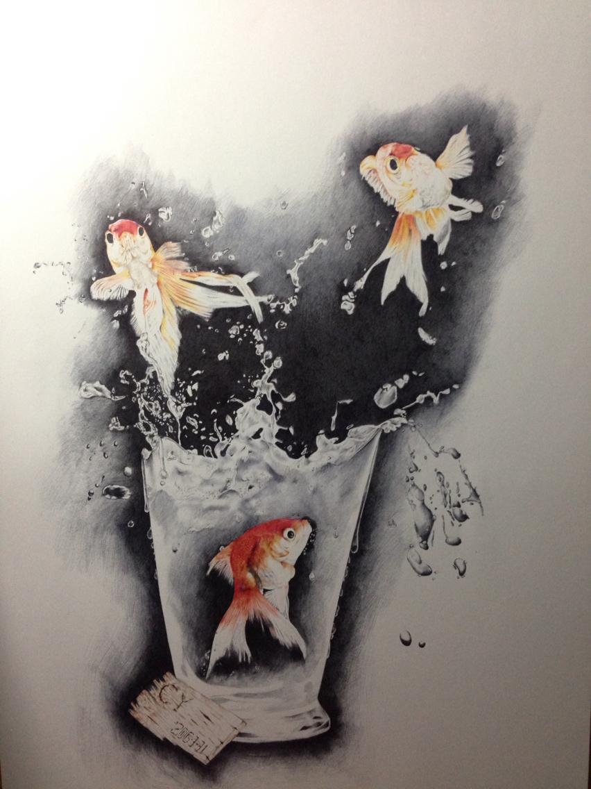 cy彩色圆珠笔手绘之《莲鲤余生》
