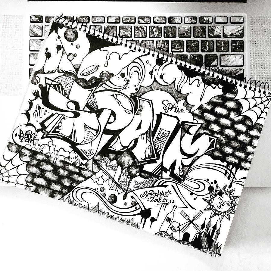 黑白,欧美风,纹身手稿
