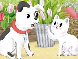 扁平风动物绘本故事矢量无线插画动物百科