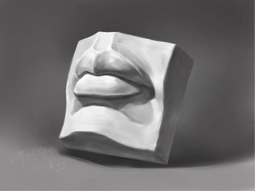石膏五官临摹(嘴巴)图片