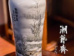 纯手绘潮彩牙瓷《春》《夏》《秋》《冬》花瓶