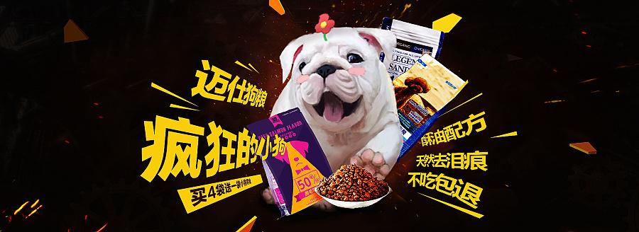 一波狗粮-宠物食品海报(自己手绘了一只白狗狗,其他两个借用了白茶的