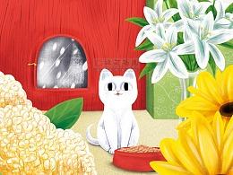 猫的绘本插画无线扁平风图书插画
