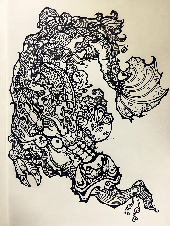 白马寺鸱吻手绘