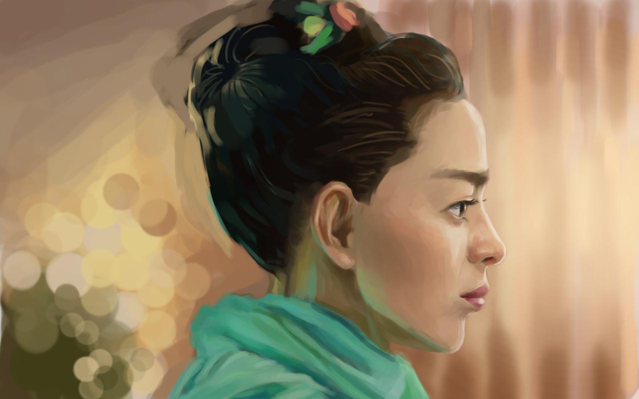 手绘少女侧脸壁纸