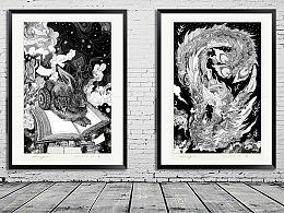 两幅近期黑白画
