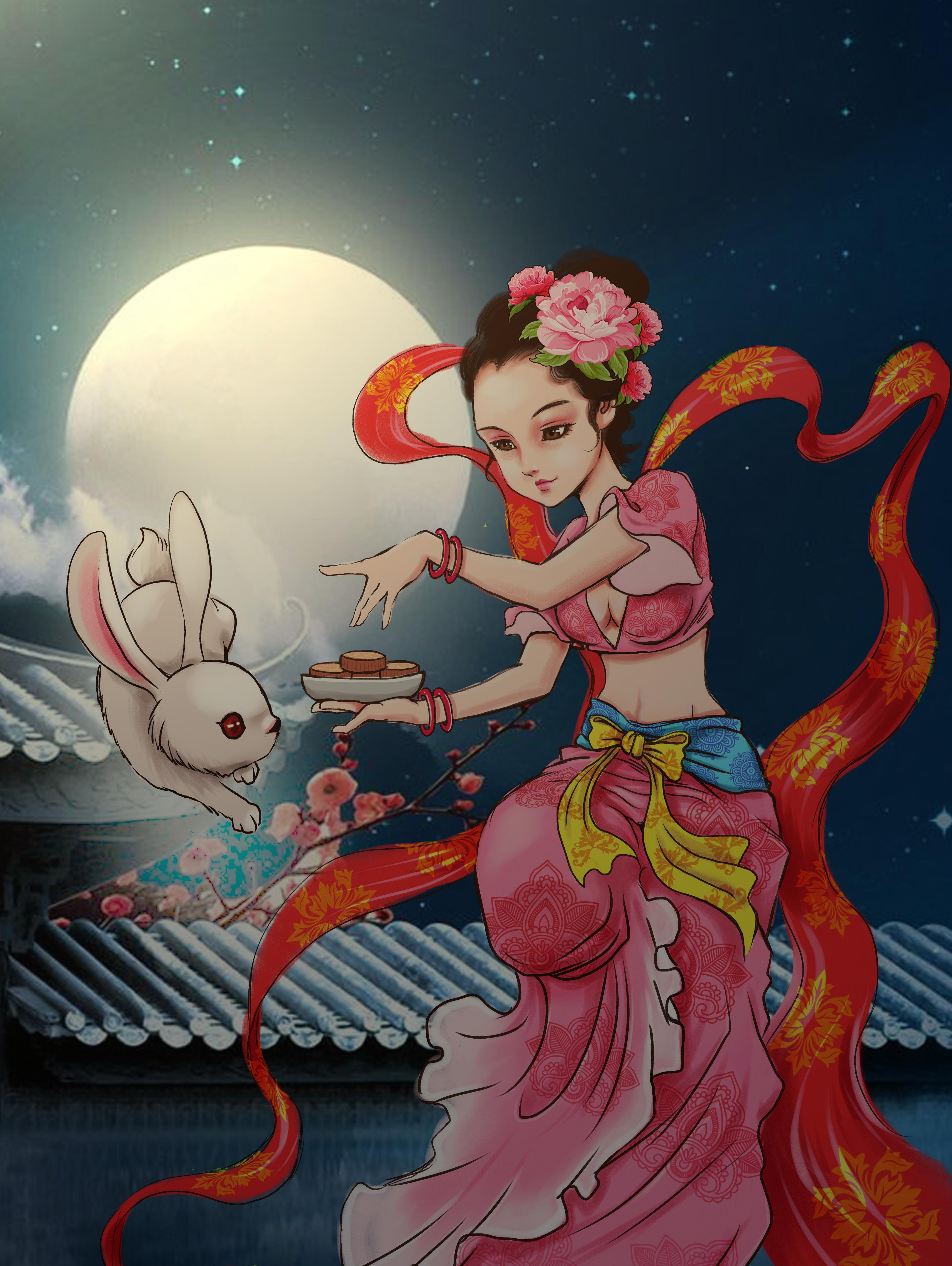 吃月饼嫦娥奔月-吃月饼