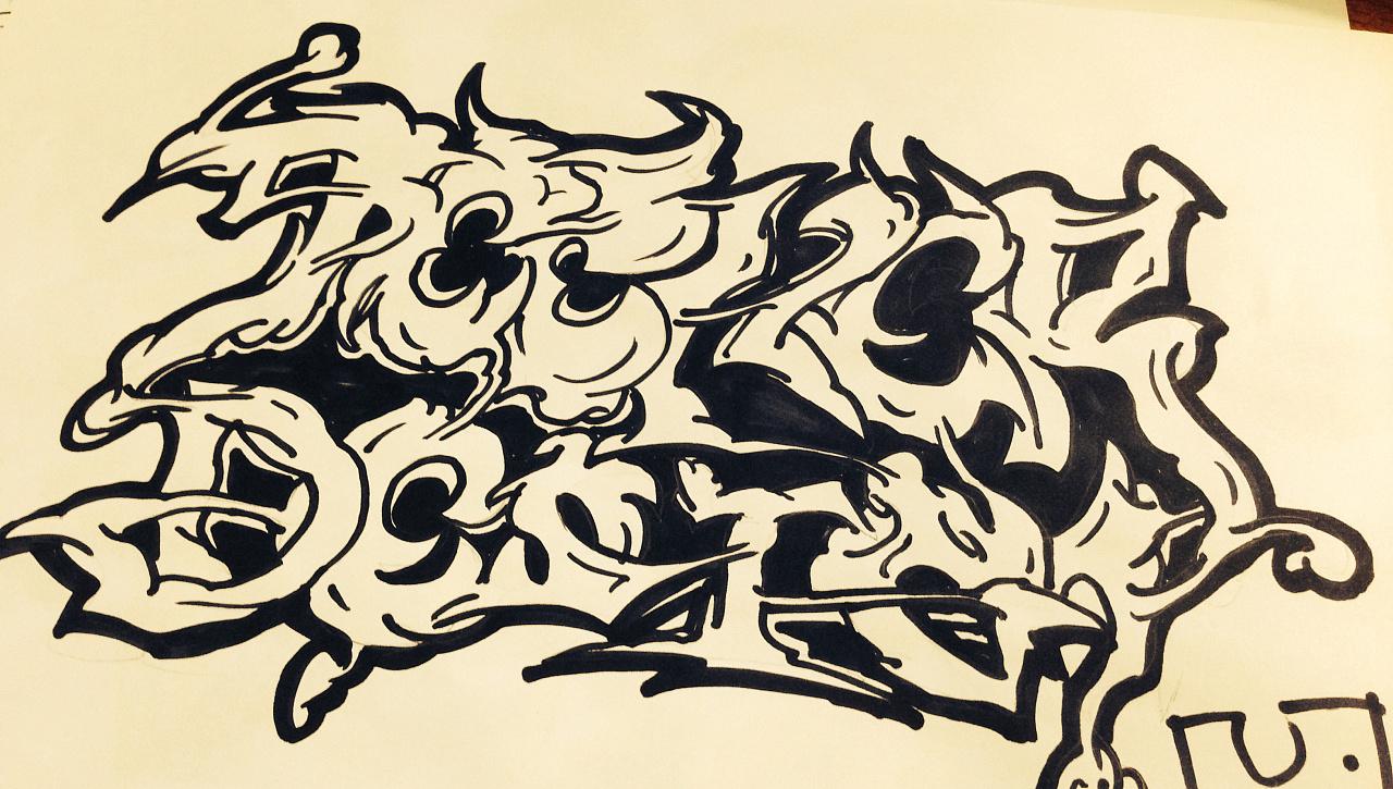 字母涂鸦练习,手绘