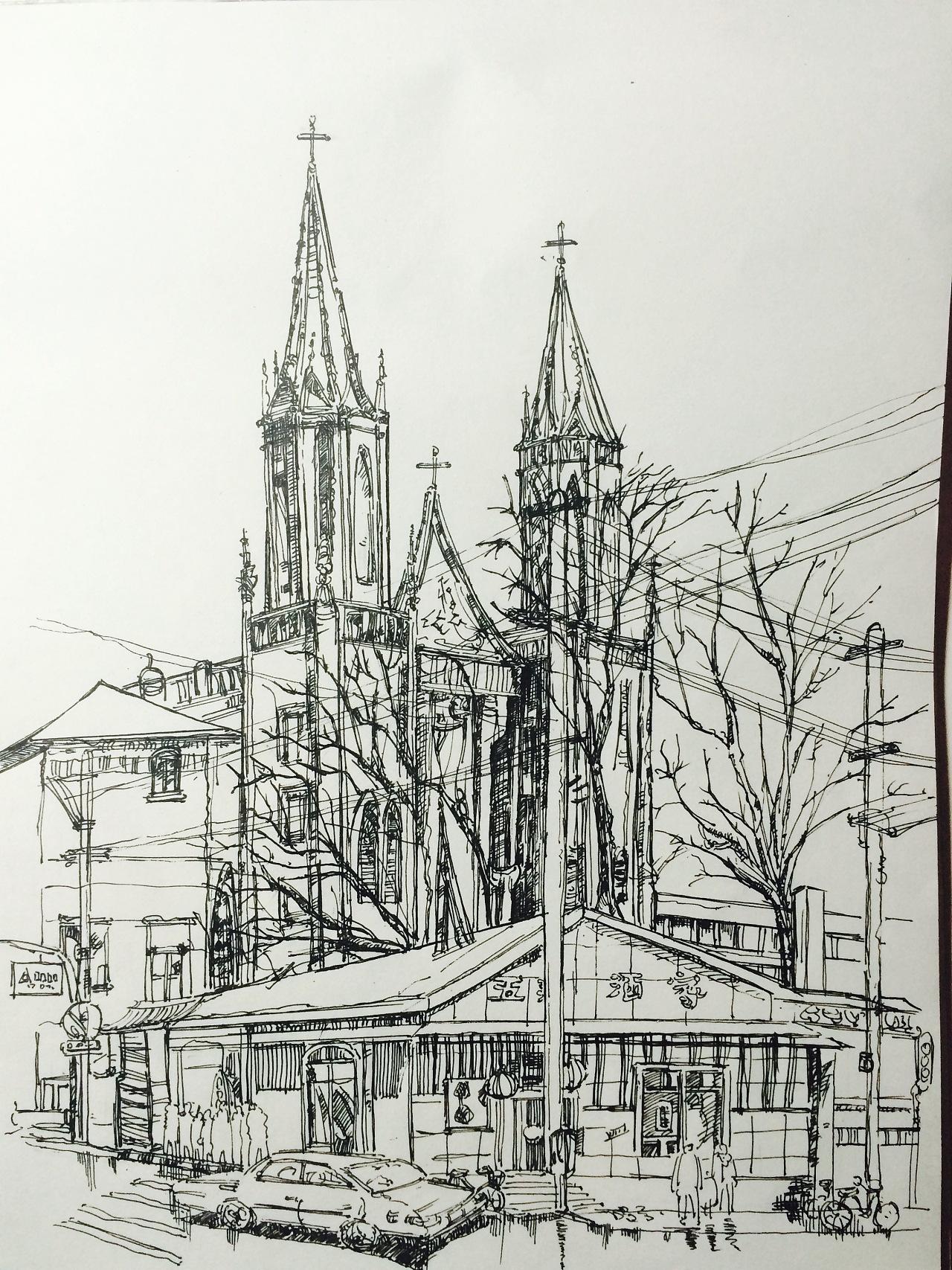 练习教堂手绘.图片