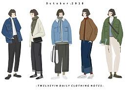 #01#分享一周日着手绘服装穿搭,气温骤降的一周