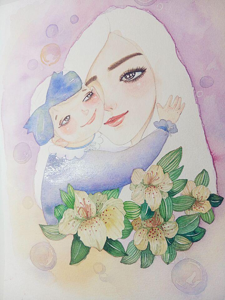 手绘彩铅背影母女