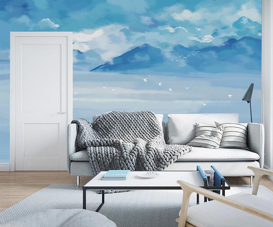 简约水彩手绘山水风景