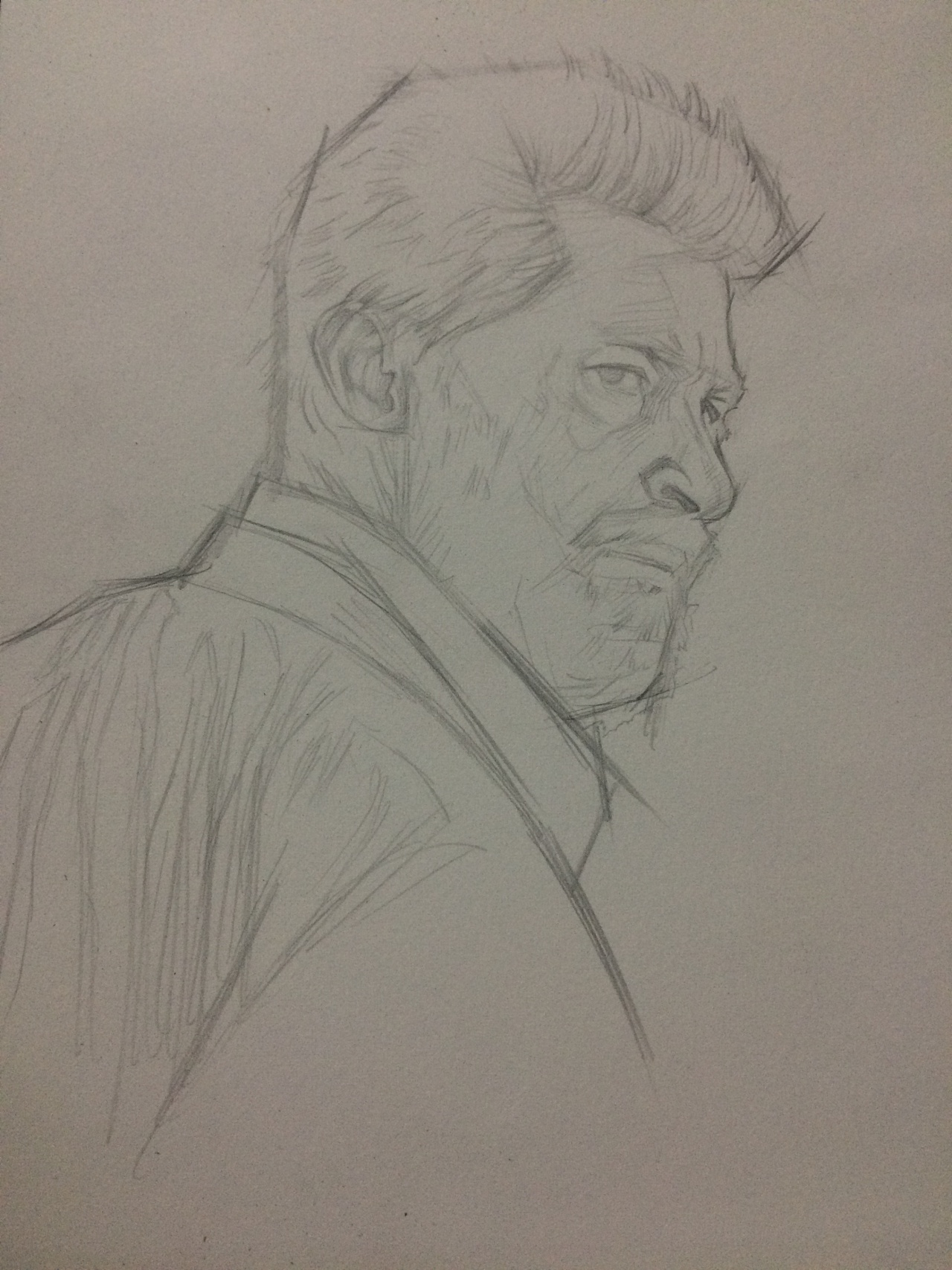 狼的素描画-休·杰克曼17年银幕形象只为金刚狼这一个角色,并且为了演好角色付图片