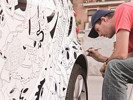 Oscar Llorens 受汽车品牌Smart邀请进行手绘视觉创作