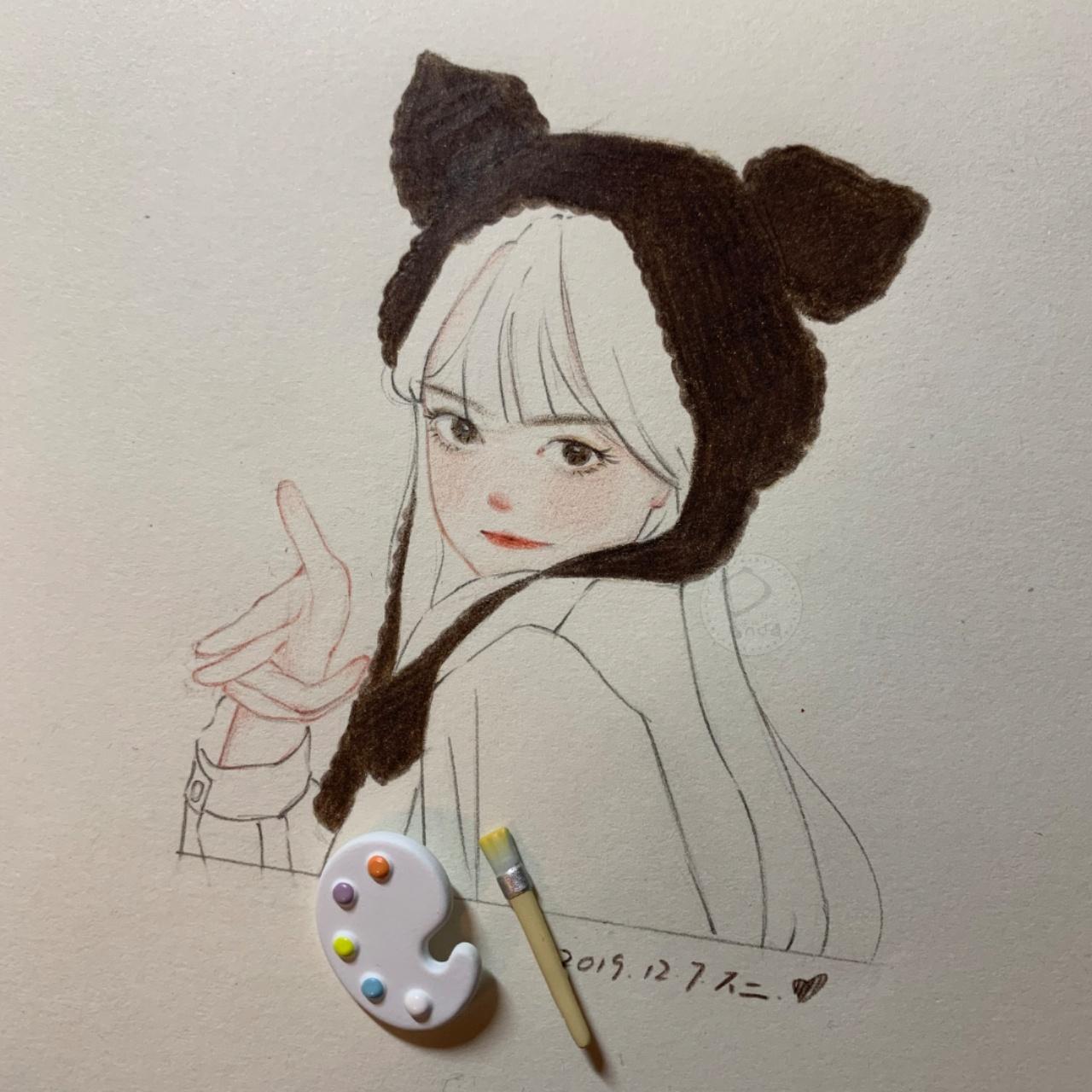 水彩少女线稿手绘卡通插画彩铅绘画教程元气少女瞄准你图片