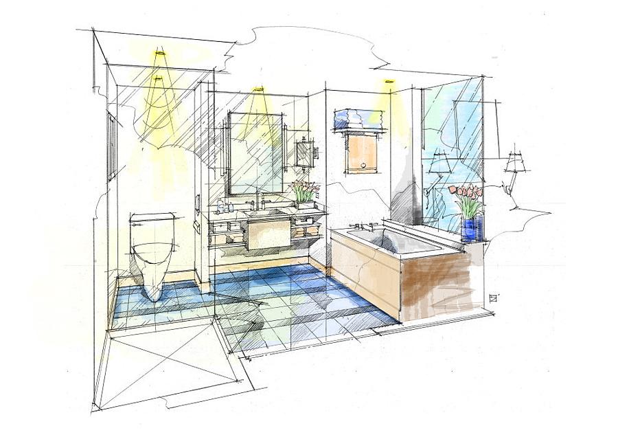 ps 室内手绘效果图 填色|室内设计|空间|小斌学长