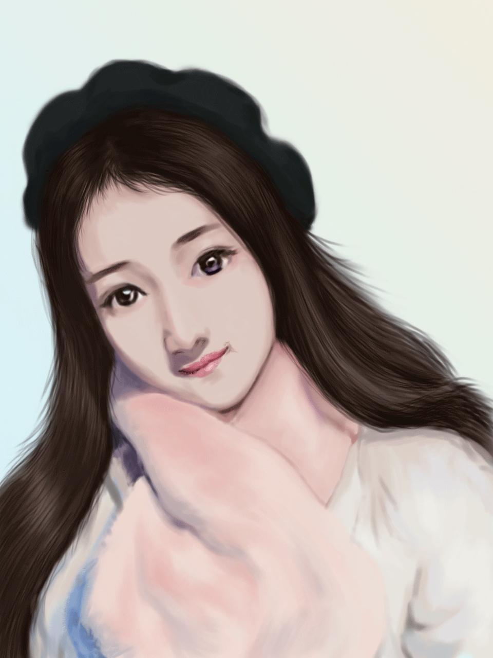 超写实手绘ps美女头像|插画|商业插画|暖阳天 - 原创