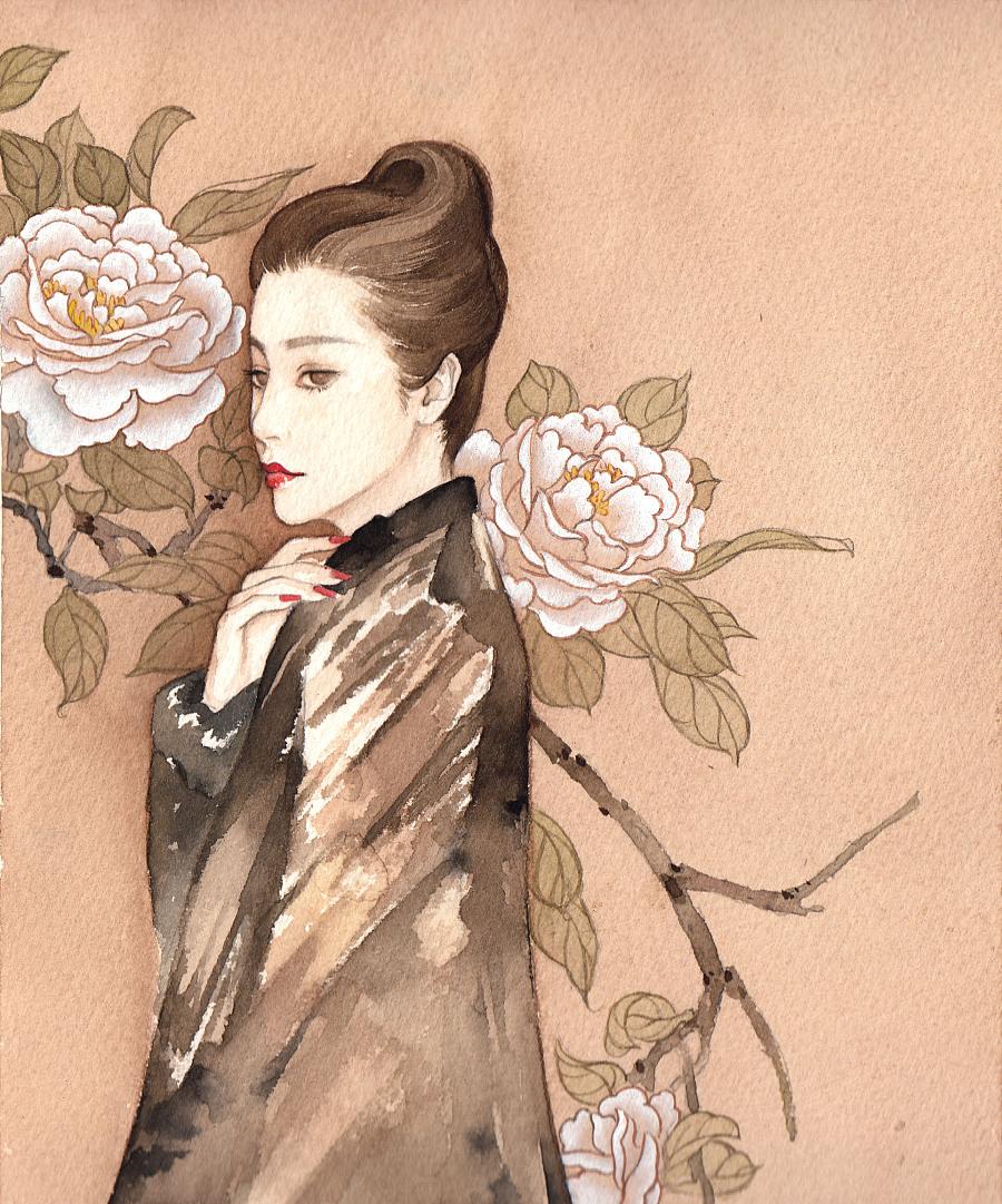 手绘水彩古风人物插画|绘画习作|插画|简熹