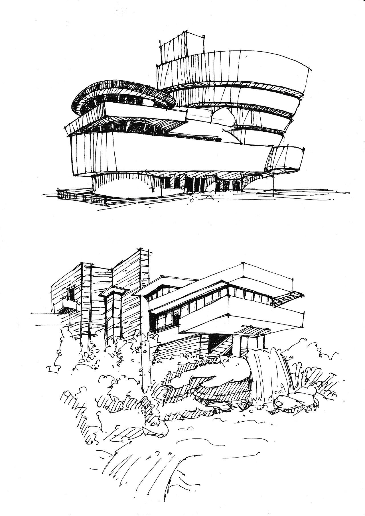建筑手绘—国外建筑赏析作业|空间|建筑设计|zz每天都图片