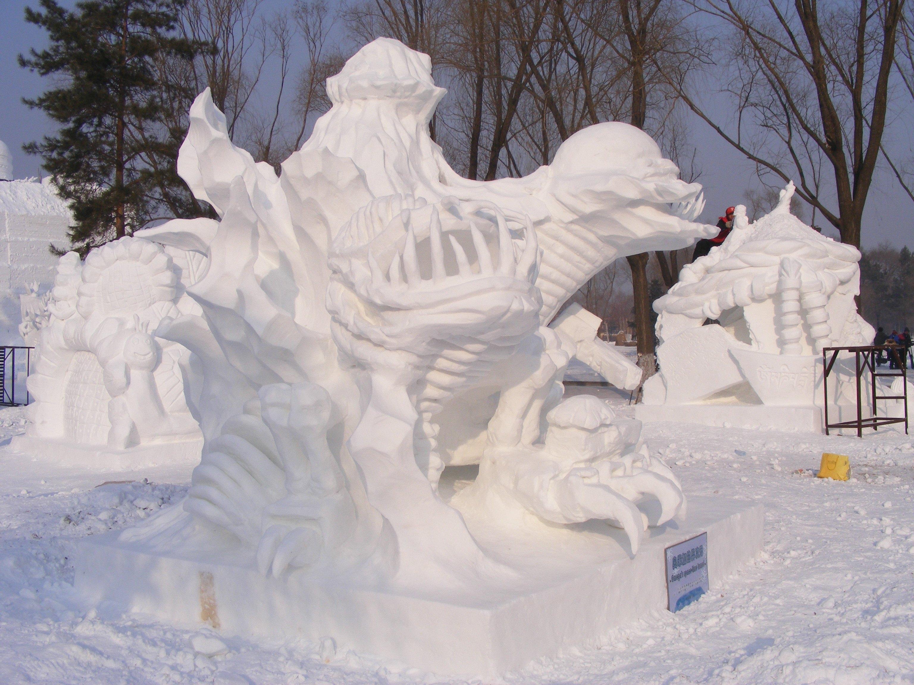 雪雕手绘稿正侧面