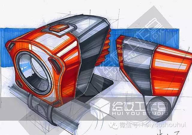 工业设计红色系产品手绘图